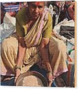 Woman Sifting In A Street Market India Wood Print