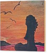 Woman Silhouette On The Beach - Kid's Painting Wood Print