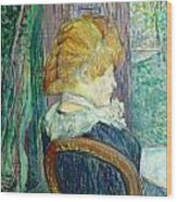 Woman Sitting In A Garden Wood Print