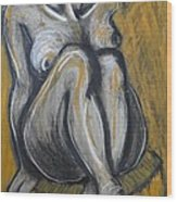Woman Sitting On Round Chair 2- Female Nude  Wood Print