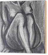 Woman Sitting On Round Chair - Female Nude Wood Print