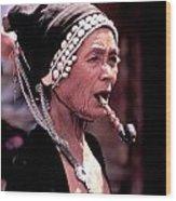 Woman Smokes Opium Pipe Wood Print