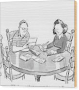 Woman Speaks To Man As They Do Bills At A Table Wood Print by Robert Leighton