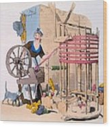 Woman Spinning Wool Onto A Rotating Wood Print