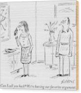 Woman Talks On Phone Wood Print