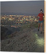 Woman Trail Running In South Mountain Wood Print