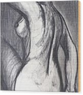 Woman Turning Her Back - Female Nude Wood Print