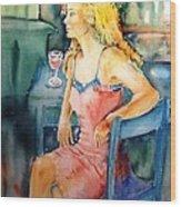 Woman Waiting  Wood Print by Trudi Doyle
