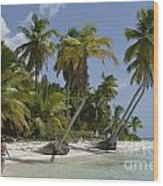 Woman Walking By Coconuts Trees On A Pristine Beach Wood Print