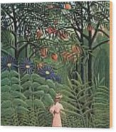 Woman Walking In An Exotic Forest Wood Print