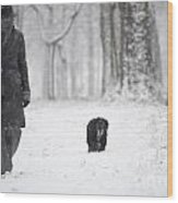 Woman Walking In The Snowy Forest Wood Print