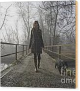Woman Walking With Her Dog On A Bridge Wood Print