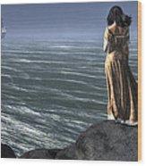 Woman Watching A Ship Sailing Away Wood Print