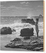 Woman Waving On Shore Wood Print