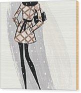 Woman Wearing Jacket In Snow Wood Print