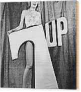 Woman With 7 Up Logo Wood Print