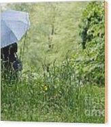 Woman With A Blue Umbrella Wood Print