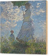 Woman With A Parasol Madame Monet And Her Son  Wood Print