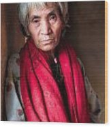 Woman With A Red Scarf Wood Print