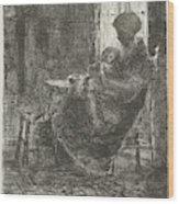 Woman With A Sleeping Child On Her Lap Asleep Near A Window Wood Print