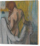 Woman With A Towel Wood Print