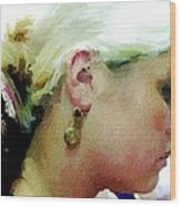 Woman With Antique Earrings Wood Print