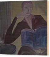 Woman With Coffee Wood Print
