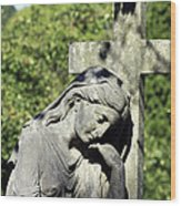 Woman With Cross Cave Hill Cemetery Louisville Kentucky Usa Wood Print