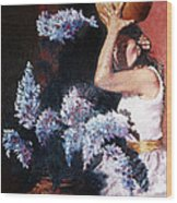 Woman With Flowers Wood Print
