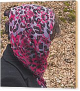 Woman With Headscarf In The Forest - Quirky And Surreal Wood Print