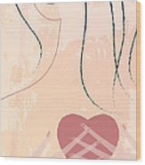 Woman With Heart Wood Print