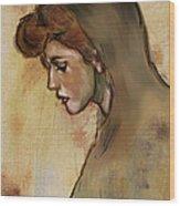 Woman With Hood Wood Print