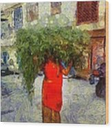Woman With Ker Leaves India Rajasthan Jaisalmer Wood Print