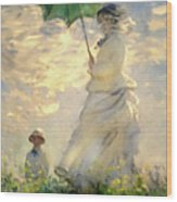 Woman With Parasol Dedication Wood Print
