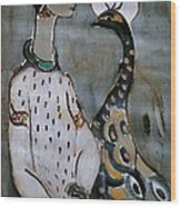 Woman With Peacock Wood Print