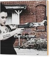 Woman With Pistols Wood Print by Rob Byron