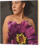 Woman With Purple Flower Wood Print by Timothy OLeary