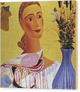 Woman With Shawl Wood Print
