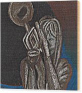 Woman With Trumpet Wood Print