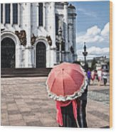 Woman With Umbrella - Moscow - Russia Wood Print