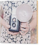 Woman With Vintage Camera Wood Print