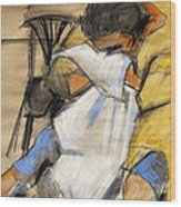 Woman With White Towel - Helene #9 - Figure Series Wood Print