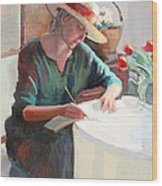Woman Writing Wood Print
