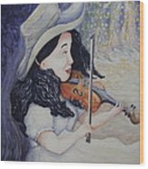 Woman's Autumnal Twilight Serenade Wood Print