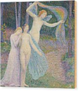 Women Amongst The Trees Wood Print by Hippolyte Petitjean