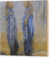 Women And Water Wood Print