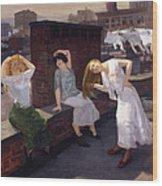 Women Drying Their Hair 1912 Wood Print