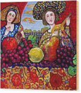 Women fruit and music Wood Print