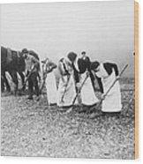 Women Learning Farming Wood Print