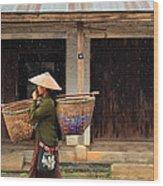 Women Market Walking On Street Wood Print